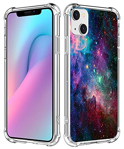 Space Galaxy Nebula Phone Case for iPhone 13 - CCLOT Cover Compatible with iPhone 13 Amazing Purple Space Galaxy Nebula Scene View Colorful Drop Resistant (TPU Protective Heavy Duty Bumper)
