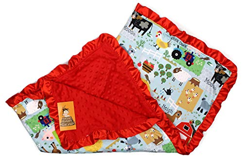 Baby Blankets, Farm Life Animals, Tractor, Red Minky,