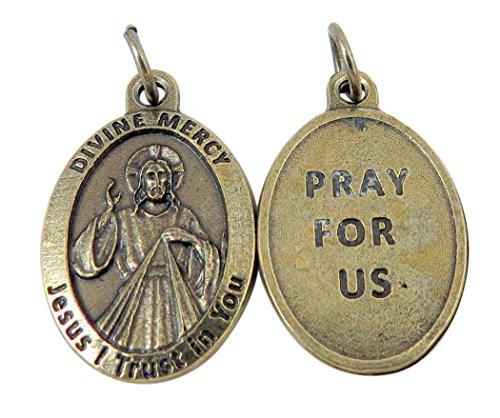 Tono de bronce medalla de Jesús Cristo de la divina misericordia recen por nosotros, 1Inch
