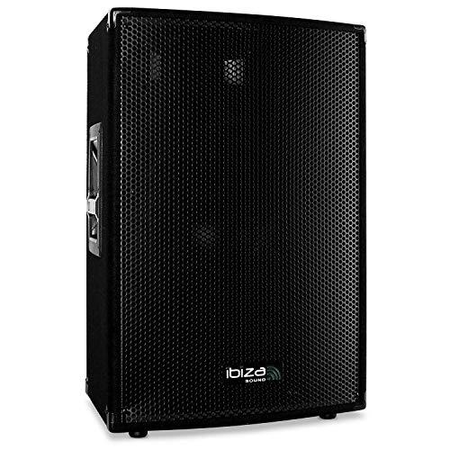 Ibiza Disco15-AMP - Aktivlautsprecher 38cm - 15-Zoll-Monitor-Bühnenlautsprecher (3-Wege-System, Subwoofer 38cm, 400W Nennbelastbarkeit)