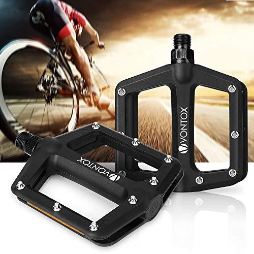 V VONTOX Fahrradpedale, Leichte Anti-Rutsch und Reflektoren Pedale aus Nylonfaser für MTB BMX 9/16 Inch Cr-Mo Stahlspindel, Schwarz (1 Paar - 6