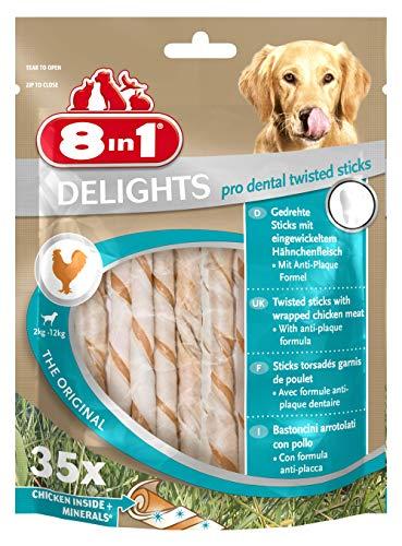 8in1 Delights Bâtonnets dentelés torsadés pour chien (2-12 kg) - 35 pièces