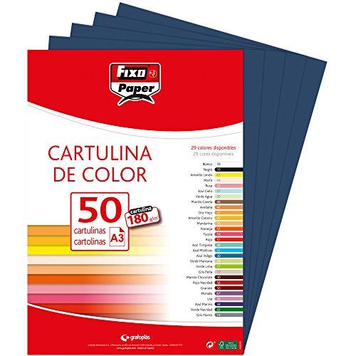 Fixo 11120334–Confezione di 50cartoncini, formato A3, colore: blu Navy