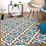 Antep Rugs Kashan King Collection Trellis Polypropylene Indoor Area Rug (Blue/Cream, 5' x 7')