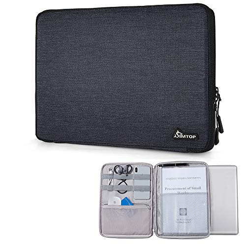 "SIMTOP Protective 13-13.3 inch Handle Laptop Sleeve Electronic Accessories Organizer Protective Bag Compatible with 13.3"" New MacBook Air MacBook Pro/Microsoft Surface/HP Envy Waterproof Laptop case"