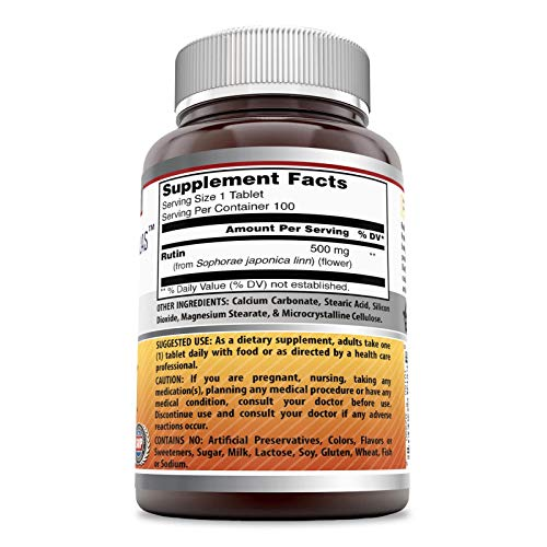 Amazing Formulas Rutin - 500mg, Tablets (Non-GMO,Gluten Free ) - Antioxidant Properties - Helps Absorption of Vitamin C - Supports Vascular Health* (100 Count)