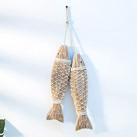 Rustic Nautical Fish Decor Beach Theme Home Decoration Fish Sculpture Home Decor for Bathroom Bedroom Lake House Decoration S Wooden Fish Decor Hanging Wood Fish Decorations for Wall