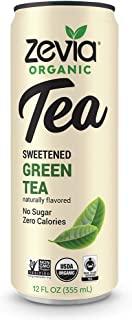 Zevia Organic Green Tea, 12 Count, Sugar-Free Brewed Iced Tea Beverage, Naturally Sweetened with Stevia, Zero Calories, No Artificial Sweeteners