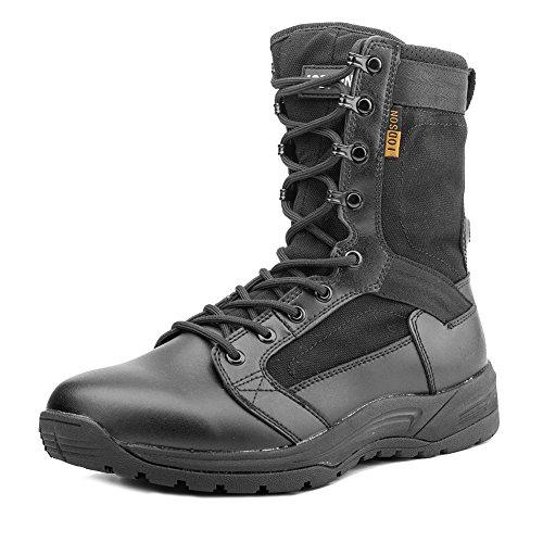 Botas tácticas Militares de Hombre Ultraligero, Tan Botas Jungle Combat, Zapatos de Trabajo y Seguridad (46 EU, Black)