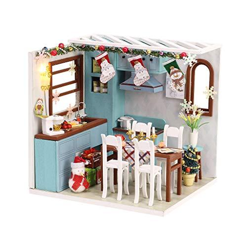 DIY Puppenhaus 3D Holz Miniaturhaus Kit mit LED Licht Kunsthandwerk Geschenk für Weihnachten Deko Romantisch Geschenke,Mädchen Weihnachtsmotiv Puppenhaus Dollhouse DIY Kit Geschenk (Weiß, A)