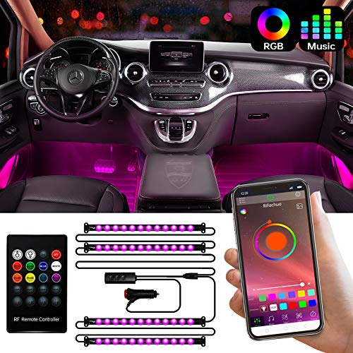 Interior Car Lights, Rifachua LED Car Strip Lights Waterproof Design with 48 LEDs, App Control Interior Car Neon Lights and Wireless Remote, Music Sync Under Dash Car Lighting with Car Charger, DC 12V
