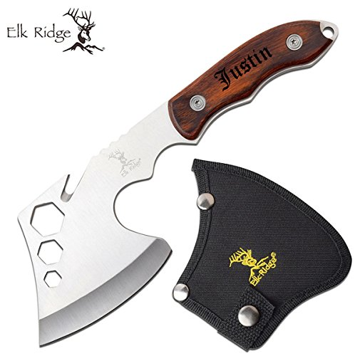Elk Ridge Engraved Hunting Camping Axe - Personalized Groomsmen Hatchets with Sheath Customized for Free (ER-199BR)