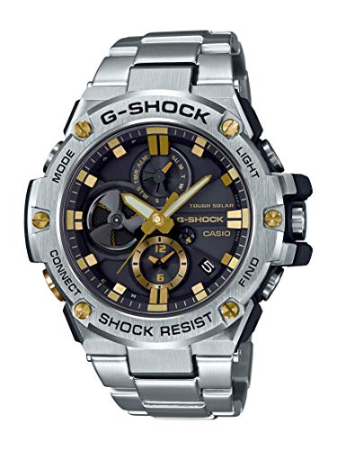 Casio Men's G-Steel by G-Shock Quartz Solar Bluetooth Connected Watch with Stainless-Steel Strap, Silver with Gold Accents, (Model: GST-B100D-1A9CR)