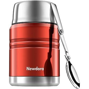 Newdora Boîtes Alimentaires isothermes, Récipient Alimentaire Isotherme sous Vide Chaud en Acier Inoxydable 500 ML, avec Une cuillère Pliante en Acier Inoxydable, 15CM * 9.5CM * 5.5CM (Rouge)