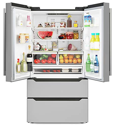 Price comparison product image KoolMore RS-FR22 Counter Depth 22.5 Cu.Ft French Door Refrigerator with Automatic Ice Maker Stainless-Steel Fridge
