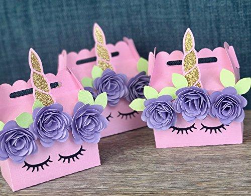 Unicorn Party, Unicorn Mini Gable Boxes, Unicorn Favor Boes, Set of 10, Unicorn Part Favors, Unicorn Birthday Party, Unicorn Flowers
