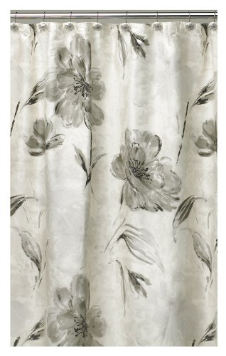 Curtains Ideas black shower curtain with white flower : Floral shower curtains - Oh So Girly!