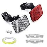 4PCS Kit de Reflector de Bicicleta ,Reflectores debicicleta,Reflectante Delantero Trasero Luz de Advertencia,Reflector de radios,Reflector de Radios de Bicicleta,CiclismoKit de reflectores (A)