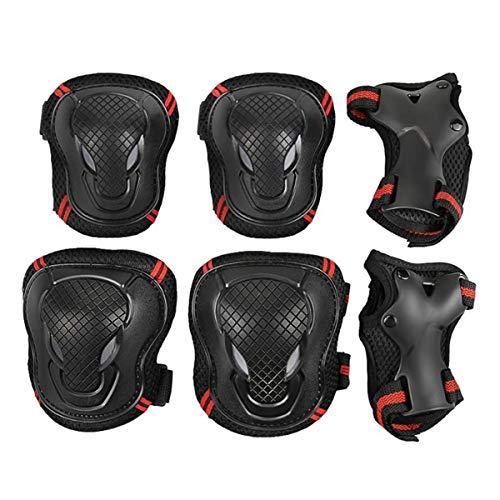 ZONSUSE Juego de Equipos de protección para Adultos, Rodilleras para Adultos 6 Juegos de Accesorios de Bicicleta Protectores Patines de Ruedas Patinaje sobre Bicicletas (Negro Rojo, L)