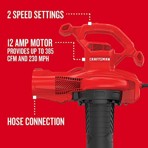 CRAFTSMAN Leaf Blower, Electric, 12-Amp (CMEBL700) , Red