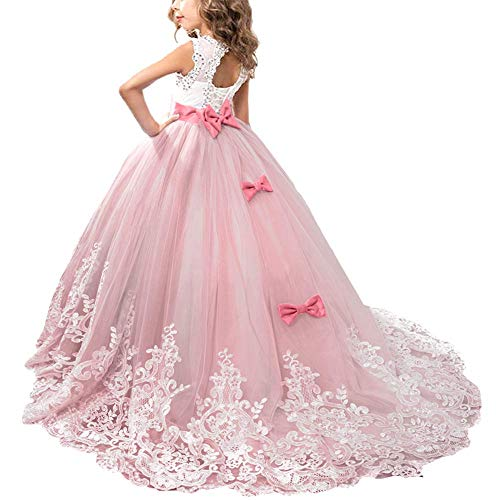 OBEEII Mädchen Kleid Kinder Rüschen Spitze Party Brautkleider 4-5 Jahre Rot Wassermelone
