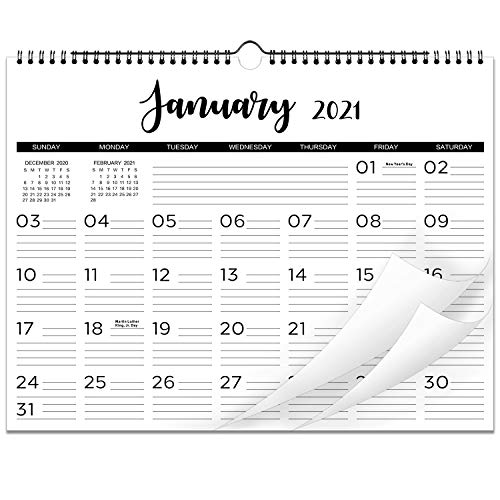 """2021 Calendar - 12 Monthly Wall Calendar with Thick Paper, 15"""" x 11.5"""", Twin-Wire Binding with Hanging Hook + Ruled Daily Space with Marked Holidays, January - December 2021 - Black and White"""