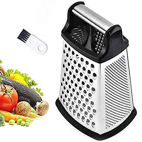 Generic Reibe Edelstahl 4-seitige Küchenreibe zum feinen/groben Reiben und Schneiden Vierkantreibe mit Kunststoff-Einsatz für sicheren Halt