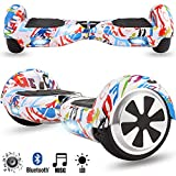 Magic Vida Skateboard Électrique Bluetooth 6.5 Pouces Graffiti avec LED Gyropode...