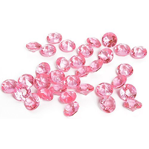 Royal Imports Acrylic Diamonds Gemstones, Crystals Rocks, Vase Fillers Party Table Scatter Wedding Banquet Event Party Crafts - 1 LB (Approx 200 gems) - Pink