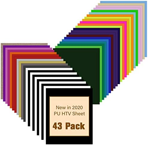 HTV Heat Transfer Vinyl Bundle 43 Pack 12 x 10 PU Iron on Vinyl for T Shirt 32 Assorted Colors product image