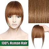 Frangia Clip Capelli Veri Frangetta Extension Capelli Veri Clip Fringe 100% Remy Human Hair Bang Lisci Naturali, 6 Castano