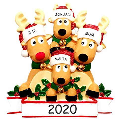 Personalized Reindeer Family Christmas Ornament (Cozy Reindeer Family of 4)