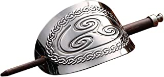 Lurrose Vintage Viking Hair Pin Celtic Hair Clips Oval Metal Hair Slide Clip with Hair Stick