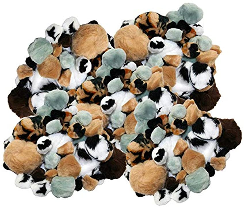 Set of 270 Soft Furry Pom Poms! 6 Assorted Animal Colors - 4 Assorted Sizes - Zebra Stripe, Tiger Stripe - Extra Soft - Perfect for Arts and Crafts, Scrapbooking and More! (270ct Pom Poms)