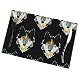 heefan Placemats Set of 6 Heat-Resistant Placemats Stain Resistant Anti-Skid Washable Artistic Coyote Wolf Table Mats