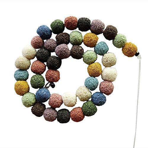Yuteng Jewelry10mm Volcano lava round Loose Bead 15.5 Inch