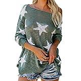 damen bedruckte Pentagramm Langarm T-Shirt YunYoud schöne elegante longbluse lange oberteil günstige