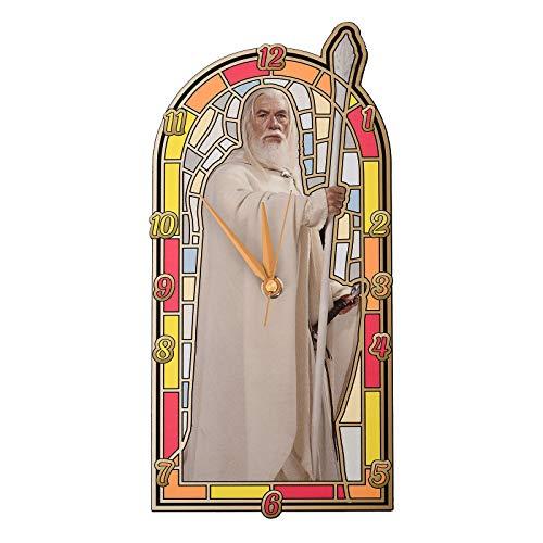 Elbenwald Herr der Ringe Wanduhr Gandalf der Weiße vor Buntglas 14,3 x 29 x 3 cm weiß bunt