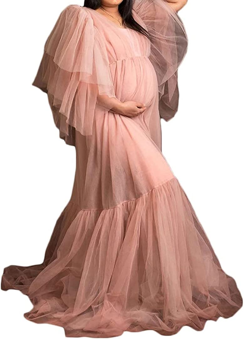 Maternity Dress for Photoshoot Rapid rise with Pregnancy Puffy Inventory cleanup selling sale Sleeves Maxi