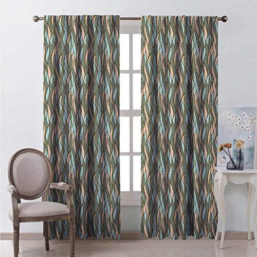 Cortina opaca abstracta con ondas verticales curvas, forma ovalada, estilo retro, 2 paneles de 63 x 84 pulgadas, color morado, negro, azul cielo