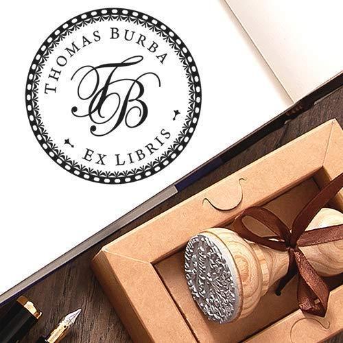 Personalisierter Stempel Initialen 2 Buchstaben Rund Ex libris, Individueller Text Monogramm Stempeln, Persönlicher Holzstempel Rundtext, Einzigartige Kraft Geschenkbox
