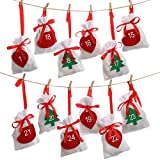 MERICP - 24 bolsas de regalo de Navidad, con cordón de Navidad, calendario de Adviento para regalos de Navidad, regalo de fiesta