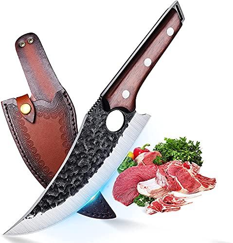TIVOLI Ausbeinmesser mit Lederhülle & Geschmiedete Japanisches Kochmesser mit Holzgriff küchenmesser Metzgermesser ProfiMesser für Küche, BBQ, Camping&Scharfe Outdoor-Messer mit Geschenkbox
