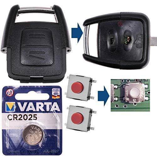 Repair Reparatur Satz Auto Schlüssel Austausch Gehäuse mit 2 Tasten + Drucktaster + Batterie Kompatibel mit Opel Astra G Zafira A Omega B Vetra B 2 Tasten