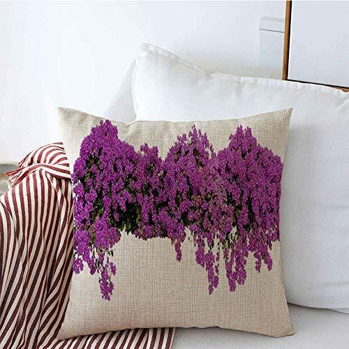 Fundas decorativas para cojines Tendencia Grandes flores Extendiendo Arbusto Hojas Púrpura Violeta Buganvilla Naturaleza Árbol Objetos de papel Funda de Cojine 45 X 45CM