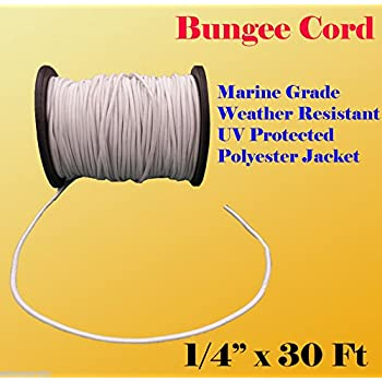 "1//4/"" Black Bungee Cord Marine Grade Heavy Duty Shock Rope Tie Down Stretch Band"