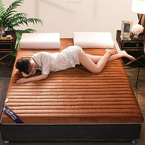 Colchón grueso de franela de látex, con espuma viscoelástica de rebote lento, apto para colcha familiar, cama de matrimonio, lana de invierno coral grueso S (tamaño: 100 x 200 cm), color: marrón)