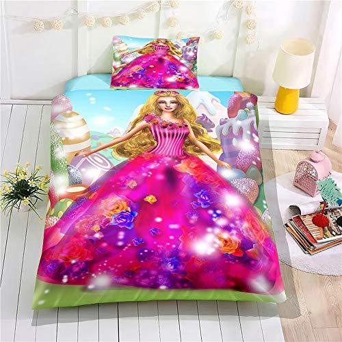 NICHIYOBI Barbie Juego de ropa de cama – Funda nórdica y funda...