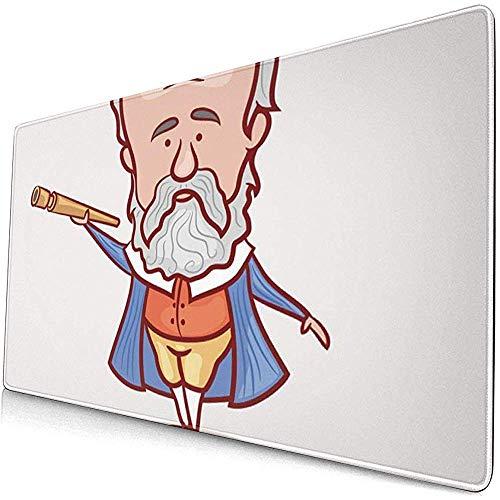 Gaming Extended Mouse Pads mit Rutschfester Gummibasis Der Wissenschaftler Physiker Astronom Galileo Galilei Teleskop In Blau 30X80 cm