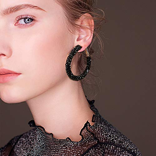 2021 New Exquisite Jewelry 4Colors Ear Rings, Women Earrings, Casual Earrings with Rhinestone Decoration Large Loop Ear Rings for Women Girl(black)
